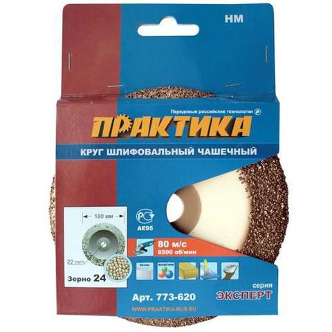 Чашка твёрдосплавная ПРАКТИКА 180 х 22 мм наклонный, зерно #24 мелкое (773-620)