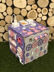 Бизикуб стандарт 30х30 см комплектации Фиолетово-Розовый для девочки