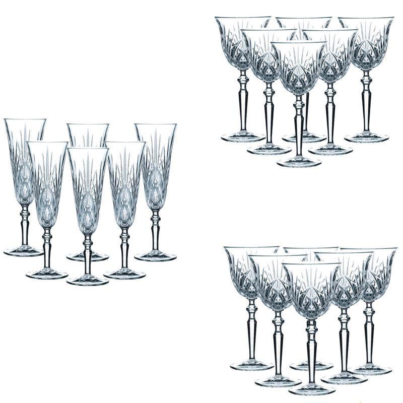 Набор из 18-ти хрустальных фужеров для шампанского красного и белого вина Palais Nachtmann