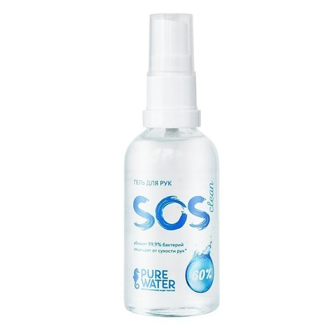 Гель для рук SOS Clean 60% спирта Pure Water 50 мл  (Pure Water)