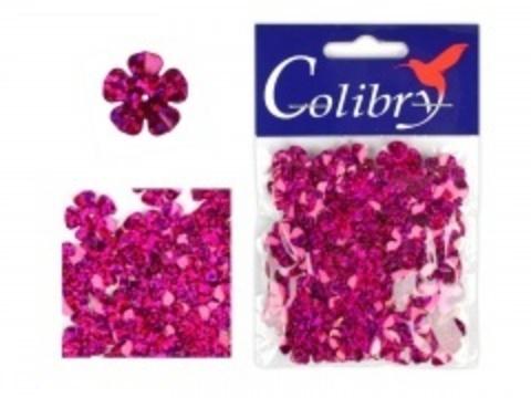 Пайетки фигурные голографические Colibry. Цветы 14*14 мм. Цвет 52
