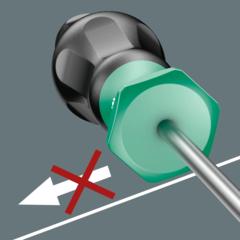 Шестигранный край ручки защищает от надоедливого перекатывания инструмента на рабочем месте. Искать упавший инструмент больше не потребуется.