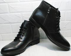 Черные мужские ботинки классика зимние Ikoc 3640-1 Black Leather.