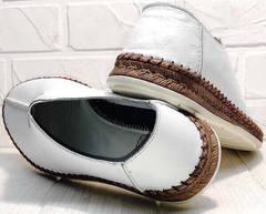 Модные эспадрильи туфли кожаные мужские деловой кэжуал летние Luciano Bellini 91724-S-304 All White.