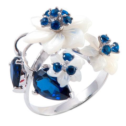 Кольцо с цветами из перламутра и сапфиром Арт.1194бпс