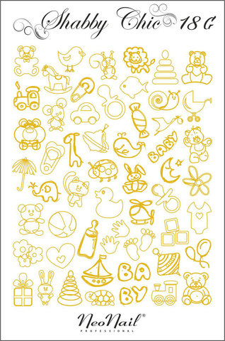 Трафарет для дизайна Shabby Chic 18 чёрный