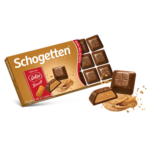 Шоколад молочный Schogetten Lotus Biscoff с кремовой начинкой и кусочками печенья 100 гр