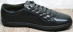 Туфли кроссовки мужские кожаные черные весна осень Novelty 5235 Black.