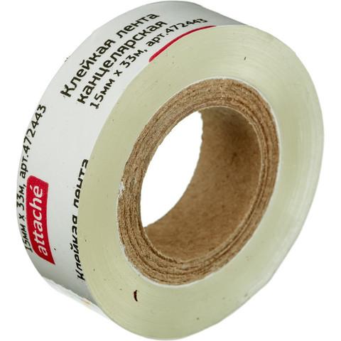 Скотч клейкая лента канцелярская Attache прозрачная 15 мм х 33 м