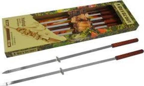 Набор плоских шампуров 55см с деревянными ручками 6шт BOYSCOUT