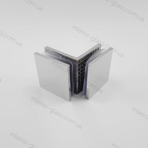 Соединитель (держатель) стекло-стекло 90 град. HDL-725 CP полированный хром