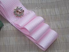 Лента атласная Розовые фактурные ромбы ширина 38 мм