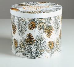 Круглая подарочная коробка «С новым годом», 19.5 × 22 см