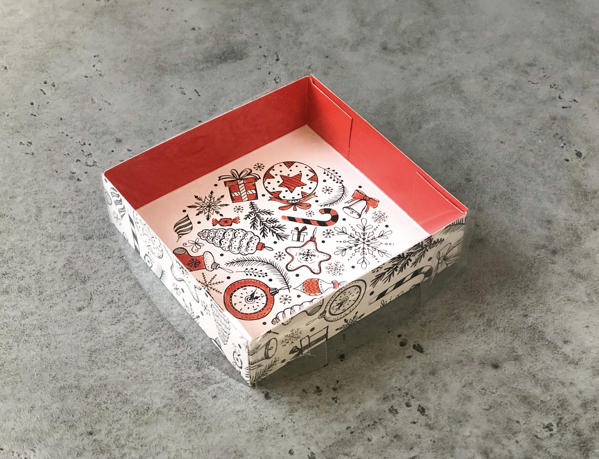 Коробка новогодняя для сладостей с прозрачной крышкой «Новогодние игрушки», 12×12×3 см