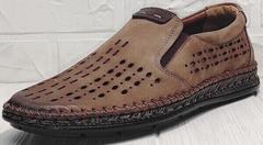 Кофейные туфли мокасины с перфорацией стиль casual Luciano Bellini 91737-S-307 Coffee.