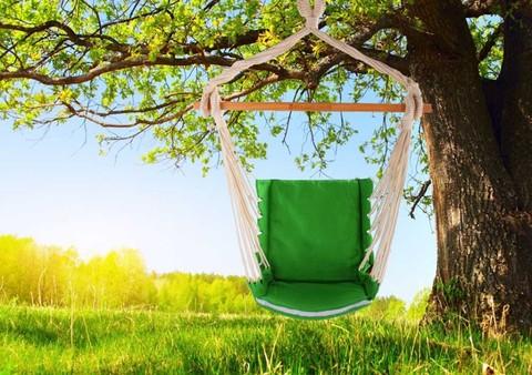 Гамак кресло из льна с поролоновыми вставками зеленый  RGK4Z