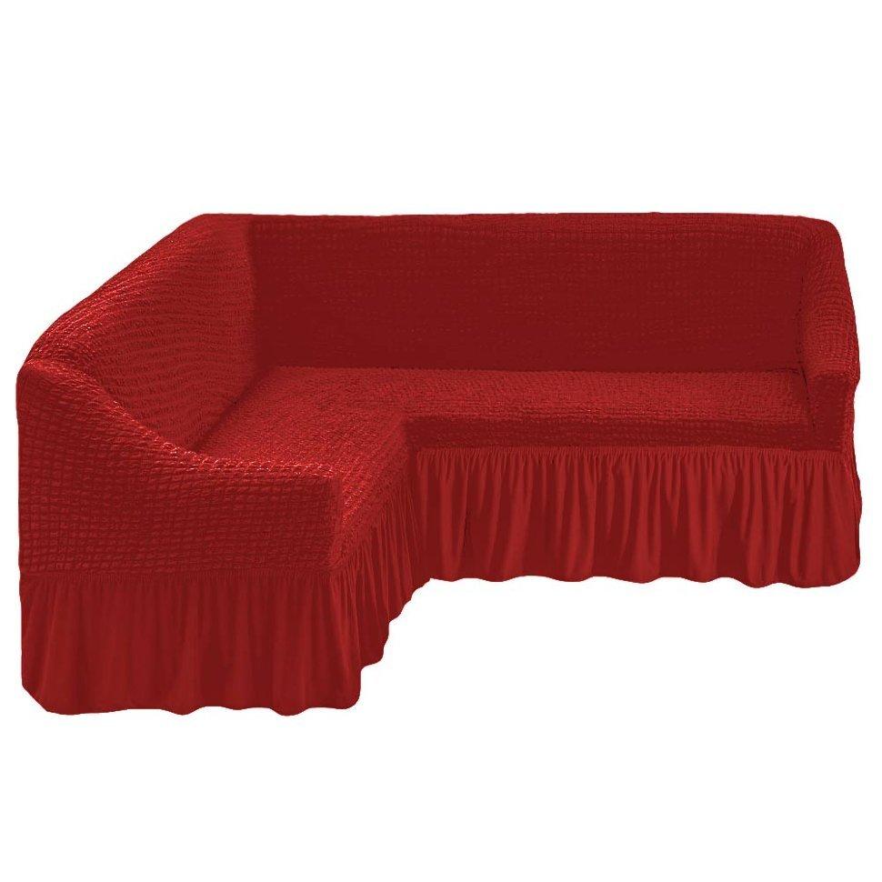 Чехол на угловой диван, терракотовый