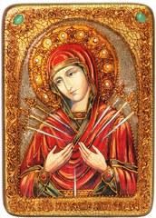 Инкрустированная икона Образ Божией Матери Умягчение злых сердец 29х21см на натуральном дереве в подарочной коробке