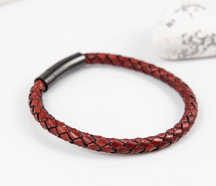 BM517-5 Мужской красный браслет из кожаного шнура фото 03
