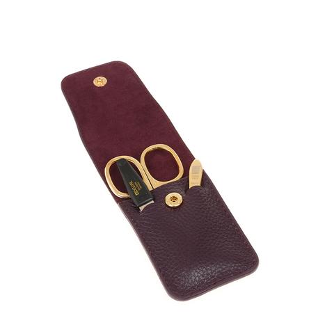 Маникюрный набор Dewal  (526CR) 3 предмета цвет фиолетовый кожаный футляр