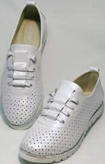 Красивые летние туфли женские кожаные Mi Lord 2007 White-Pearl.