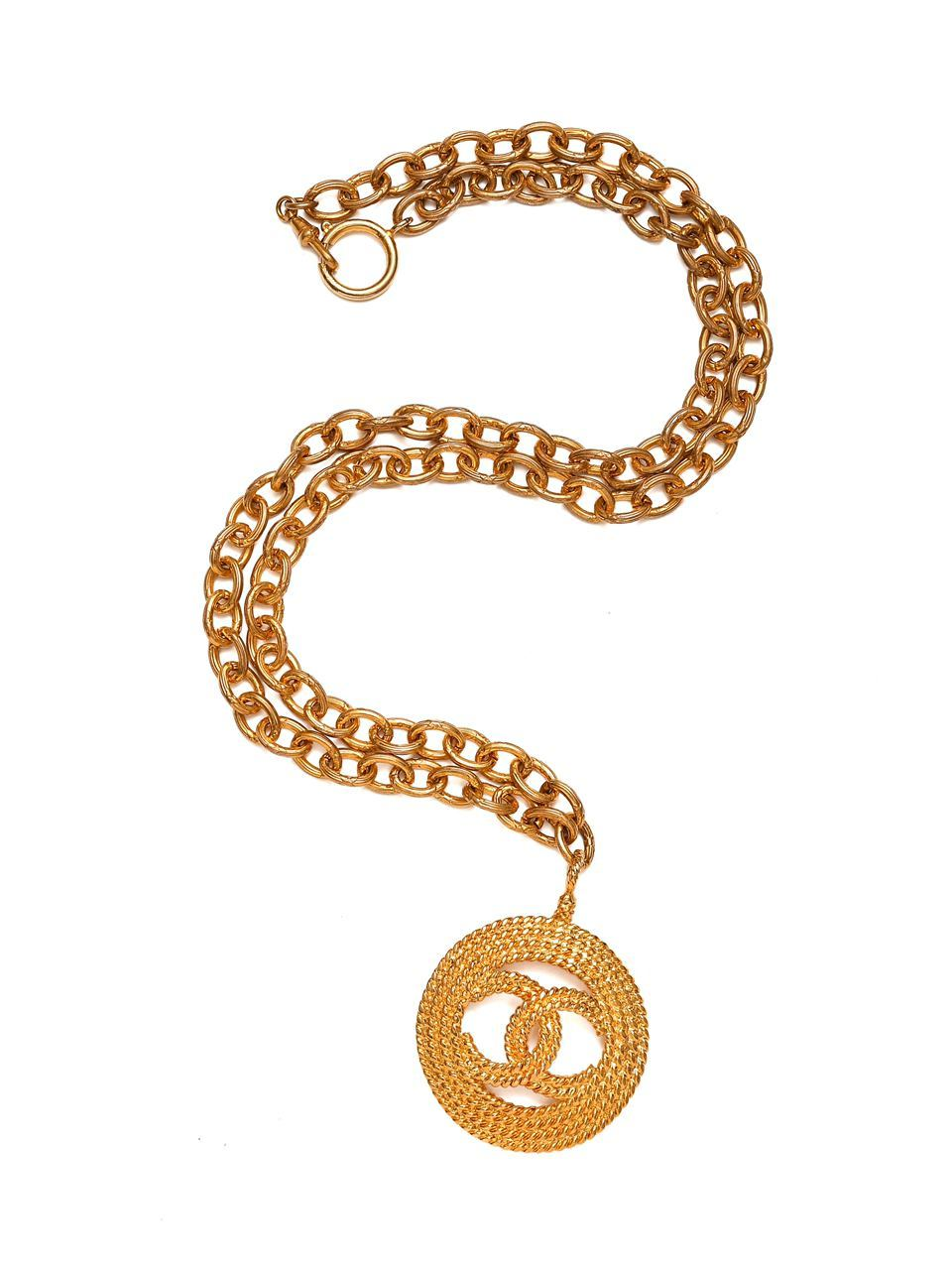Кулон на цепи Chanel 1985 г., покрытый 24-х каратным золотом