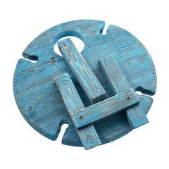 Складной столик для вина из дерева, темно-синий, фото 4
