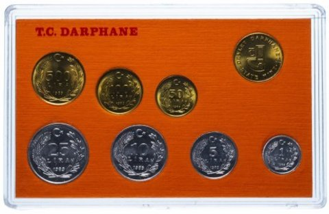 Набор из 7 монет + 1 жетон в буклете. Турция. 1989 год. UNC.