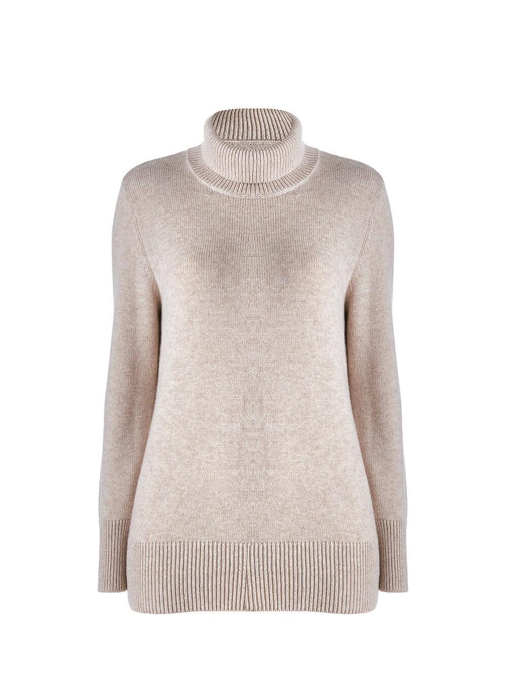 Женский свитер бежевого цвета из шерсти и кашемира - фото 1