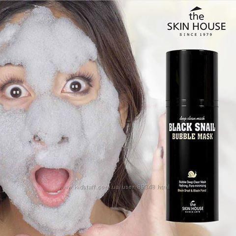 Кислородная маска с улиткой и древесным углем  The Skin House  Black Snail Bubble Mask