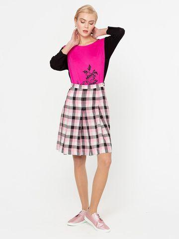 Фото стильная повседневная юбка в складку с принтом в клетку - Юбка Б026-598 (1)