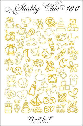 Трафарет для дизайна Shabby Chic 18 золото