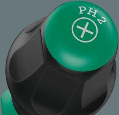 Маркировка типа и размера наконечника на ручке отвертки облегчает ее поиск в сумке с инструментом и на рабочем месте.