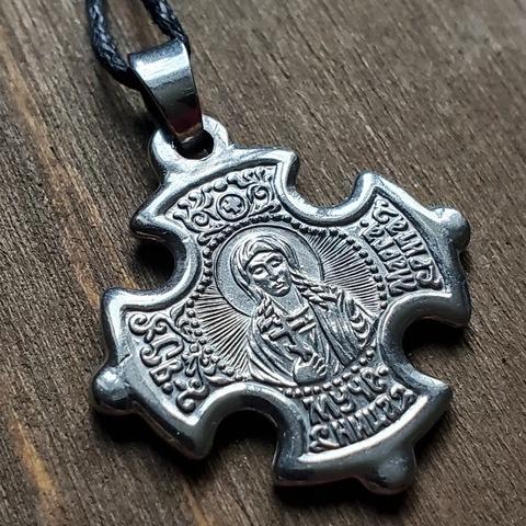 Нательная именная икона святая Маргарита с крестом посеребренная