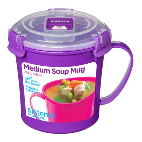 "Кружка суповая для СВЧ Sistema ""Microwave"" 656 мл, цвет Фиолетовый"