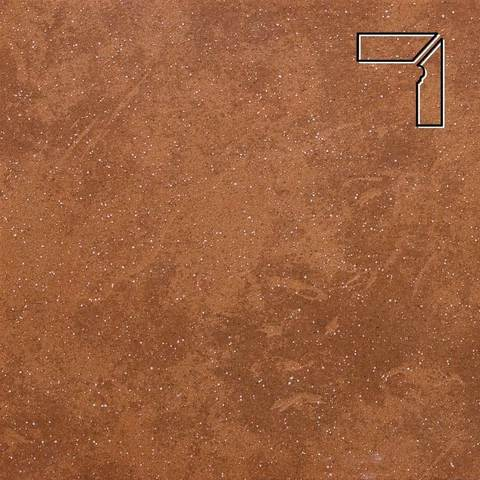 Stroeher - Keraplatte Roccia 841 rosso длина стороны угла 290 артикул 9118 - Плинтус клинкерной ступени правый