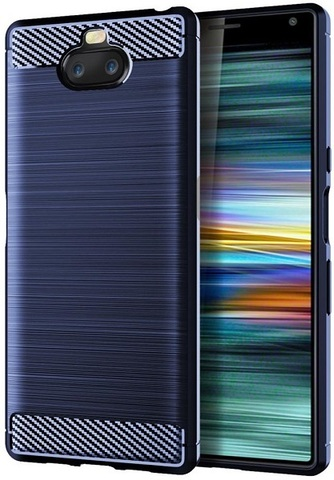 Чехол Sony Xperia 10 цвет Blue (синий), серия Carbon, Caseport