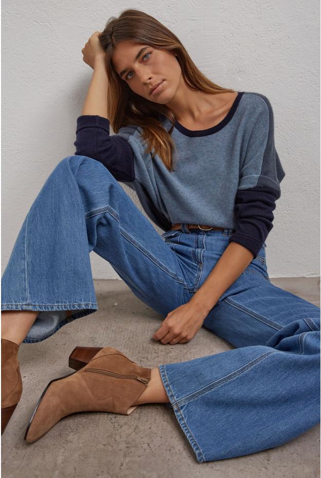 DOMTILLE - Двухцветный свитер оверсайз из кашемира.