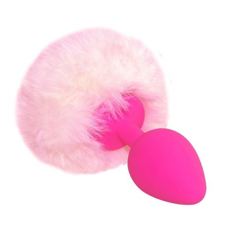 Розовая анальная пробка с нежно-розовым хвостиком  Задорный Кролик