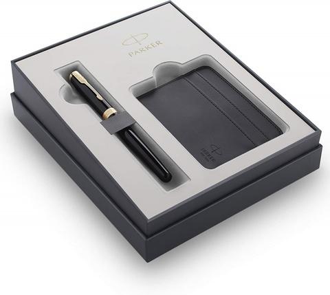 Подарочный набор Parker Sonnet с перьевой ручкой и футляром для карточек  Black GT, перо M, чернила синие
