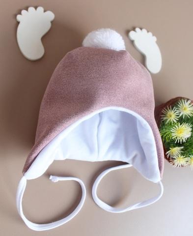 Утепленная шапка для новорожденных Нобл (0-3 мес, сирень)