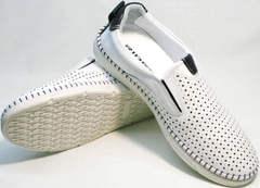 Полуспортивные туфли слипоны мужские кожаные летние Ridge Z-441 White Black.