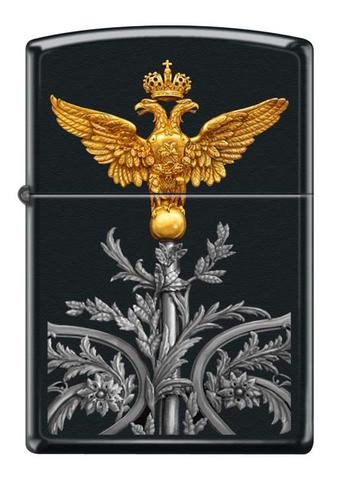 Зажигалка Zippo Двуглавый орёл, латунь/сталь с покрытием Black Matte, чёрная, матовая, 36x12x56 мм123