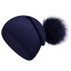 Вязаная женская шапка с натуральным помпоном, ангора (синяя)