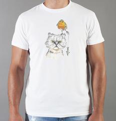 Футболка с принтом Кот, Кошка, Котенок (кошки) белая 0081