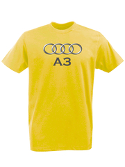 Футболка с принтом Ауди A3 (Audi A3) желтая 002