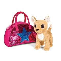 Собачка единорог на поводке с сумкой в пайетках
