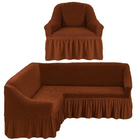 Чехол на угловой диван и кресло, коричневый