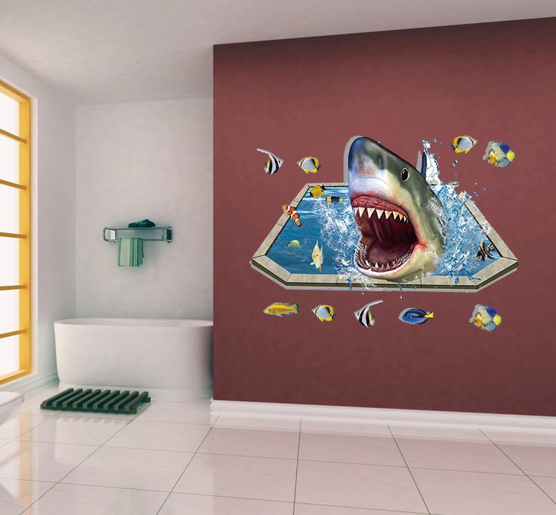 Акула 3D наклейка