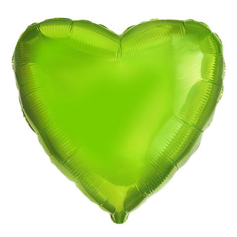 Шар-сердце лайм, 45 см